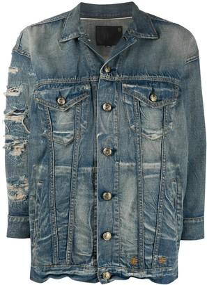 R 13 Ripped Detailing Denim Jacket