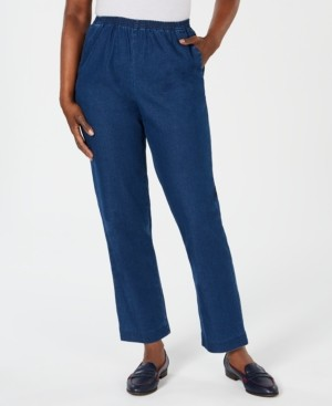 Karen Scott Petite Pull-On Straight-Leg Jeans, Created for Macy's