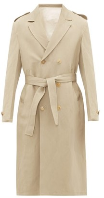 Rochas Double-breasted Twill Trench Coat - Mens - Brown