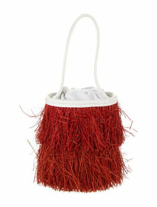 Sensi Leather-Trimmed Straw Bucket Bag Red