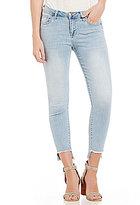 Celebrity Pink Frayed Stepped-Hem Cropped Stretch Skinny Jeans