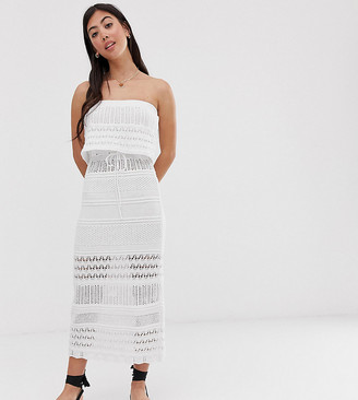 Asos DESIGN Petite crochet bandeau maxi dress-White