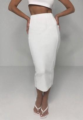 Missguided Rib Bandage Corset Detail Midi Skirt