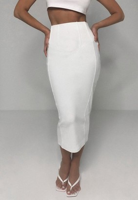 Missguided White Rib Bandage Corset Detail Midi Skirt