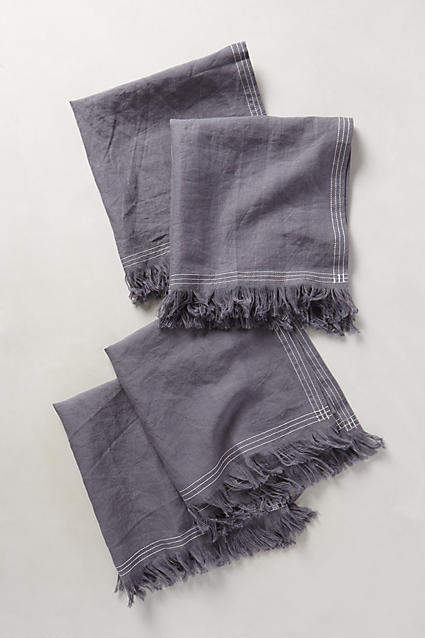 Anthropologie Stitched Linen Napkins, Set of 4