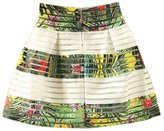 Towallmark Women Elegant Vintage Free Size Pleated Striped Zipper Mini Skirt
