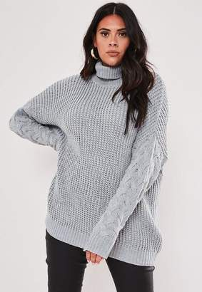 Missguided Plus Size Gray Turtle Neck Cable Sleeve Sweater