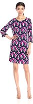 Laundry by Shelli Segal Women's Three-Quarter Sleeve Printed Matte Jersey Dress