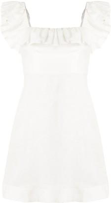 Zimmermann Off-Shoulder Ruffled Mini Dress