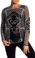 Endless Rose Long Sleeve Sheer Bead & Sequin Embellished Top