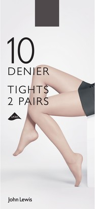 John Lewis & Partners 10 Denier Tights, XXL, Pack of 2
