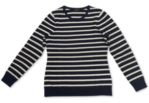 Charter Club Striped Cashmere Crewneck Sweater, Created for Macy's