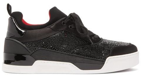 brand new 5bf0e 516e2 Aurelien Crystal Embellished Leather Trainers - Mens - Black