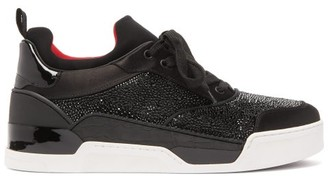 Christian Louboutin Aurelien Crystal-embellished Leather Trainers - Mens - Black
