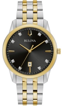 Bulova Men's Sutton Diamond-Accent Two-Tone Stainless Steel Bracelet Watch 40mm