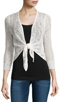 It's Our Time IT S OUR TIME Tie Front Shrug 3/4 Sleeve Cardigan-Juniors
