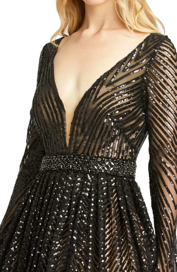 Thumbnail for your product : Mac Duggal Sequin Long Sleeve A-Line Gown