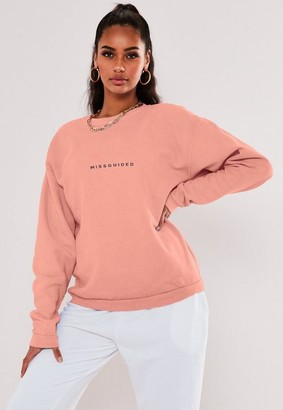 Missguided Tall Peach Oversized Washed Sweatshirt