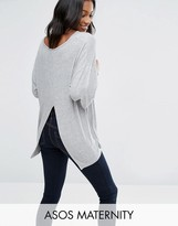 Asos Top With Kimono Sleeve and Split Back in Oversized Fit