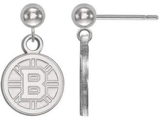 Logoart LogoArt NHL Boston Bruins 14kt White Gold Dangle Ball Earrings