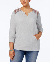 Style&Co. Style & Co Plus Size Printed-Yoke Top, Created for Macy's