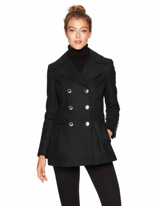 Calvin Klein Women's Polished Wool Coat with Button Detail
