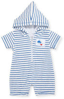 Kissy Kissy Deep Sea Delight Striped Terry Shortall, Size 3-18 Months
