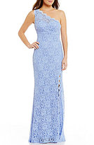 Morgan & Co. Glitter Lace Illusion-Back One-Shoulder Long Dress