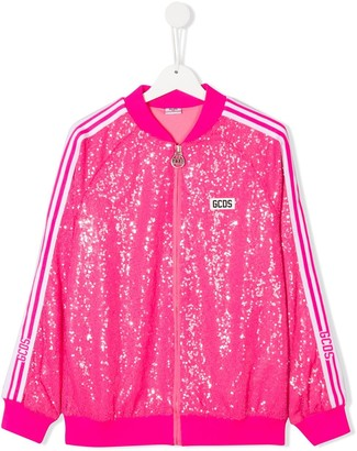 Gcds Kids Sequin Embroidered Side Stripe Bomber Jacket
