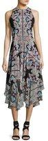 Nanette Lepore Wild Heart Sleeveless Silk Chiffon Kaleidoscope Midi Dress, Black/Multicolor