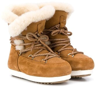 MOON BOOT KIDS Shearling-Trimmed Snow Boots