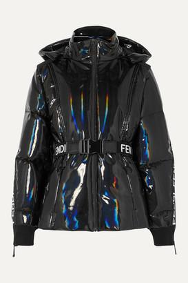 Fendi Appliqued Holographic Down Ski Jacket - Black