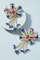 Shourouk Alacantara Flower Drop Earrings