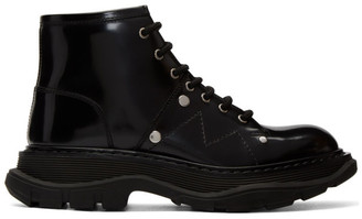Alexander McQueen Black Tread Lace-Up Boots