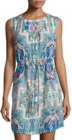 Alberto Makali Printed Drawstring Dress, Blue