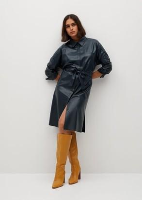 MANGO Faux-leather shirt dress