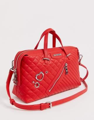 Love Moschino cross heart stud tote bag-Red