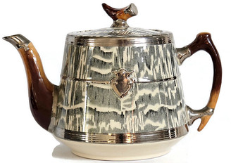 One Kings Lane Vintage 1930s Silver Shield Faux Bois Teapot - Rose Victoria