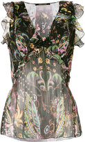 Roberto Cavalli floral sleeveless blouse - women - Silk/Polyester - 48