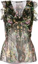 Roberto Cavalli floral sleeveless blouse