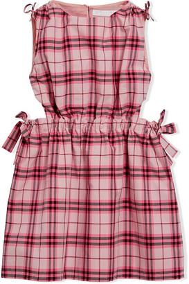 BURBERRY KIDS Tie Detail Check Cotton Dress