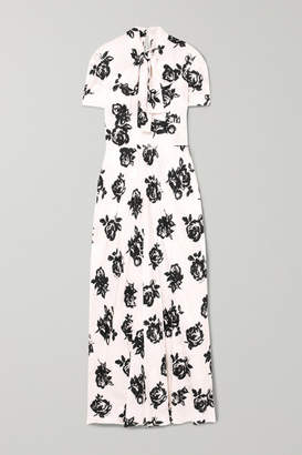 Miu Miu Floral-print Silk-jacquard Maxi Dress - White