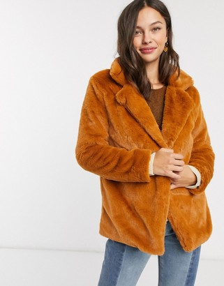 Parisian faux fur coat in mid length-Orange