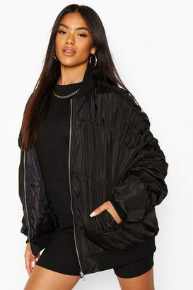 boohoo Ruched Detail Bomber Jacket