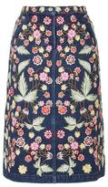 Needle & Thread Embroidered A-Line Denim Skirt