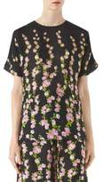 Gucci Floral Short-Sleeve Blouse