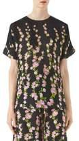 Gucci Silk Jacquard Short Sleeve Blouse