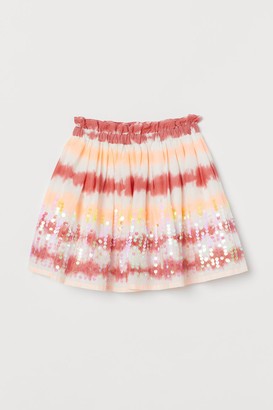 H&M Sequined Cotton Skirt - Red