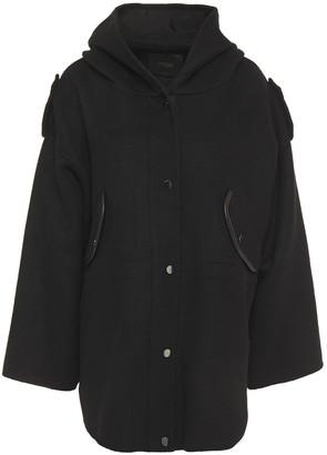 Maje Leather-trimmed Wool-blend Felt Hooded Coat