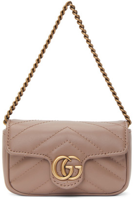 Gucci Taupe GG Marmont 2.0 Card Holder Bag
